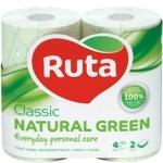 Туалетная бумага Ruta Classic двуслойная зеленая 4шт