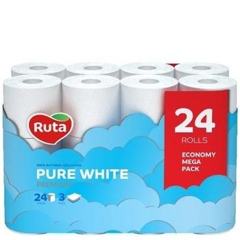 Бумага туалетная Ruta Pure White Premium трехслойная 24шт