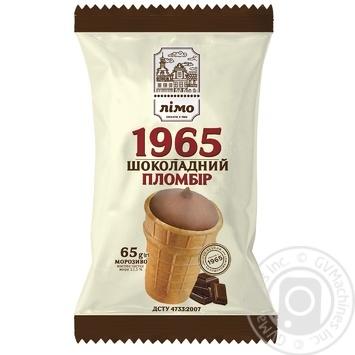 Мороженое Лимо Пломбир 1965 шоколадный в вафельном стаканчике 65г - купить, цены на Фуршет - фото 1