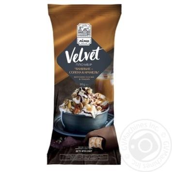 Мороженое Лимо Velvet ванильное-соленая карамель пломбир эскимо в глазури 80г - купить, цены на Фуршет - фото 1