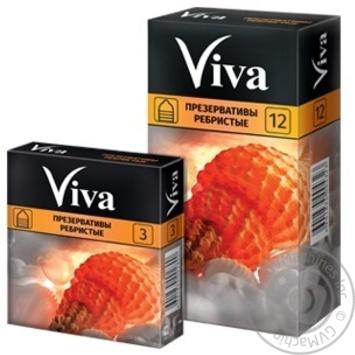 Презервативы Viva ребристые латексные прозрачные гладкие накопителем и силиконовой смазкой 3шт - купить, цены на Ашан - фото 2