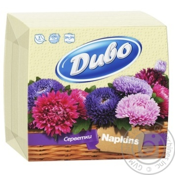 Napkins Dyvo yellow paper for serving 100pcs packaged - buy, prices for Furshet - image 1