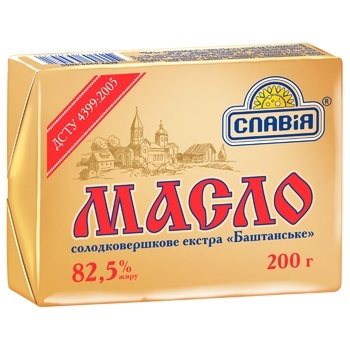 Масло Славия Баштанское сладкосливочное экстра 82,5% 200г