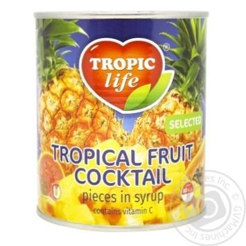Коктейль тропічний фруктовий Тропік лайф в сиропі 820г - купити, ціни на МегаМаркет - фото 1