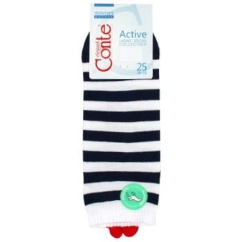 Шкарпетки жіночі Conte Elegant Active р.25 білий-синій - купити, ціни на CітіМаркет - фото 1