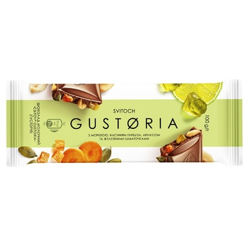 SVITOCH® Gustoria Milk Chocolate with Carrots, Pumpkin Seeds, Peanuts and Jelly Pieces 100g - buy, prices for EKO Market - photo 1