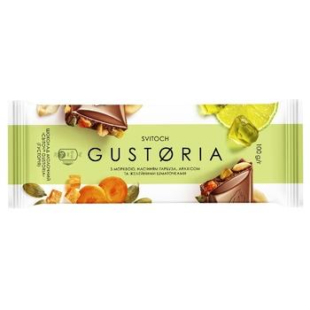 Шоколад молочный СВІТОЧ® Gustoria с морковью, семенами тыквы, арахисом и желейными кусочками 100г