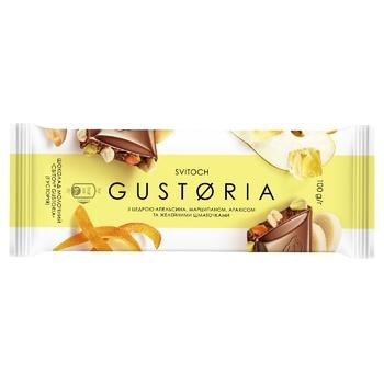 Шоколад молочний СВІТОЧ® Gustoria з цедрою апельсина, марципаном, арахісом та желейними шматочками 100г - купити, ціни на ЕКО Маркет - фото 1
