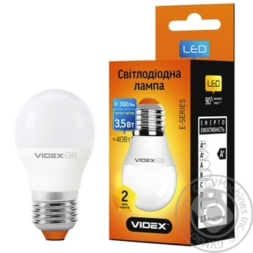 Лампа светодиодная Videx LED G45E 3.5W E27 3000K