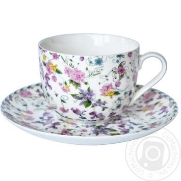 Чашка з блюдцем Krauff Версейл 21 244 019 230мл 15,2см - купить, цены на Novus - фото 1