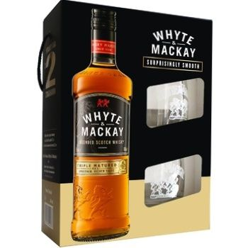 Виски White&Mackay 40% 0,7л + 2 стакана в коробке
