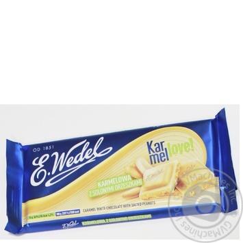 Шоколад білий карамелевий з солоним арахісом Wedel 90г