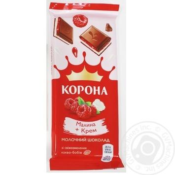 Шоколад молочный Корона с малиновой и кремовой начинками 85г