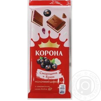 Шоколад молочный Корона со смородиновой и кремовой начинками 85г
