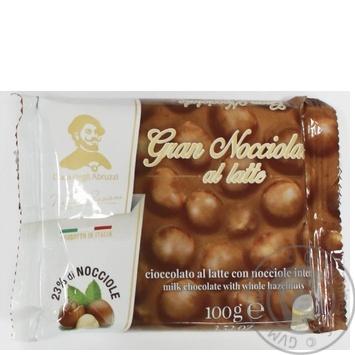 Шоколад молочний з цілим лісовим горіхом Герцог Абруцці 100г
