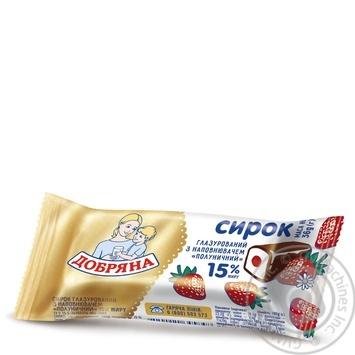 Сырок глазированный Добряна Клубника 15% 36г - купить, цены на Ашан - фото 1