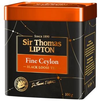 Чай Ліптон Сір Томас Файн Цейлон чорний 100г - купити, ціни на CітіМаркет - фото 1