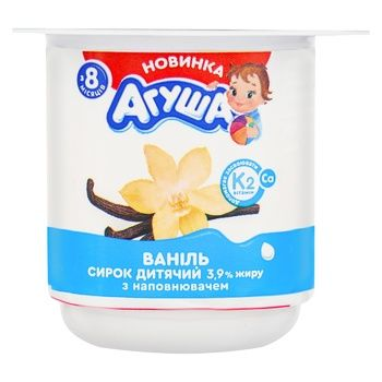 Сырок Агуша детский ваниль с 8мес 3,9% 100г - купить, цены на Фуршет - фото 1