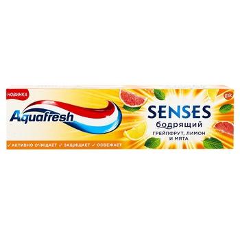 Зубная паста Aquafresh Senses бодрящий грейпфрут, лимон и мята 75мл