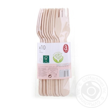 Actuel Fork Wooden Disposable 10pcs - buy, prices for Auchan - image 1