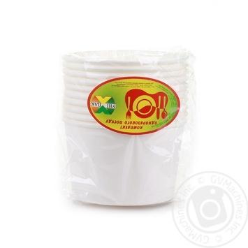 Тарілка супова паперова біла Уніпак 500мл 10шт