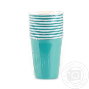 Склянка Уніпак паперова одноразова блакитна 250мл 10шт - купити, ціни на Ашан - фото 1