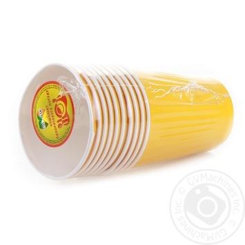 Стакан Унипак бумажный одноразовый желтый 250мл 10шт - купить, цены на Ашан - фото 3