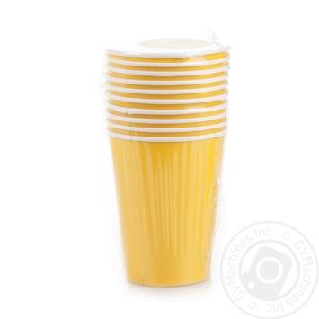 Стакан Унипак бумажный одноразовый желтый 250мл 10шт - купить, цены на Ашан - фото 1