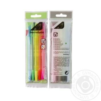 Ручки Auchan шариковые неоновые 5шт