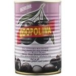 olive Coopoliva black pitted 385g can Spain