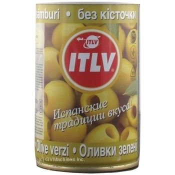 Оливки ITLV зеленые без косточки 314мл