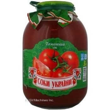 Сок Соки Украины томатный с мякотью стерилизованный стеклянная банка 3000мл Украина