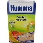 Каша детская Хумана молочная кукурузно-рисовая фруктовая сухая с 6 месяцев 250г Германия