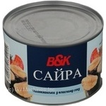 Fish saury B&k canned 240g can Poland