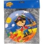Тарелка Веселая затея бумажная Маленький пират 17см 6шт