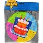 Тарілка паперова Торт Birthday 17см 6шт