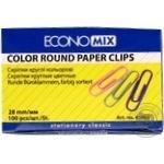 EconoMix Round Color Paper Clips 28mm 100pcs