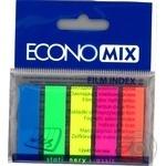 Закладки EconoMix з клейким шаром 5 кольорів по 25шт 12X45мм