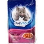 Корм PreVital мясные кусочки в желе с мясом кролики и индейки для взрослых котов 100г