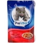 Корм PreVital мясные кусочки в желе с говядиной для взрослых котов 100г