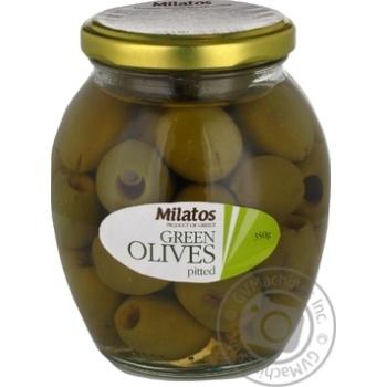 Оливки зелені без кісточки Milatos 350г