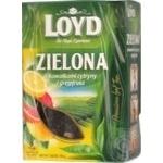 Чай зелений байховий листовий з ароматом лимону та грейпфруту Loyd 80г