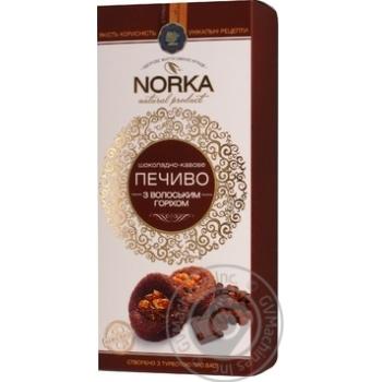 Печенье Norka Шоколадно-кофейное с грецким орехом 180г - купить, цены на Novus - фото 1