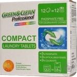 Порошок пральний Compact для білого та кольорового одягу Green&Clean Professional 12 таблеток