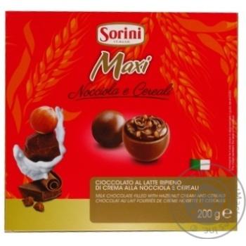 Конфеты Sorini Макси из молоч.шокол/фунд.кр/злакам 200г