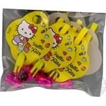 Дудки-язычки пластиковые с картонным декором Hello Kitty 6шт