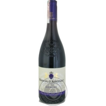 Вино Baron d`Arignac Merlot червоне напівсолодке 12% 0,75л - купити, ціни на МегаМаркет - фото 1