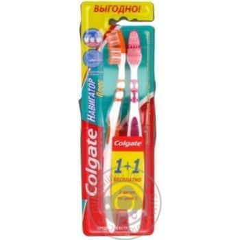 Зубна щітка Colgate Навігатор Плюс багатофункціональна середньої жорсткості  1+1 - купити, ціни на Ашан - фото 2