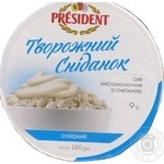President with sour milk cottage cheese 9% 180g