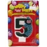 Свічки для торту Помічниця циферка з клоуном 5, 8см